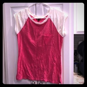 Express Tops - EUC size xtra small Express pink and white t shirt